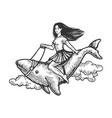 woman riding whale engraving vector image vector image
