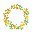 yellow flower and green leaves wreath watercolor vector image