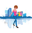young woman with shopping bag in city vector image vector image