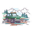 journey on jeep off-road vehicle vector image