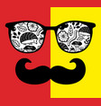 abstract face man in glasses with moustaches