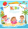 background template with pictures happy kids vector image vector image