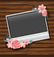 border template with pink roses on wooden wall vector image vector image