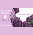 business card with roses flowers realistic vector image