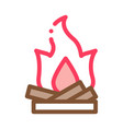 camping fire with firewood icon outline vector image