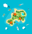 cartoon color island in ocean vector image vector image