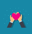 charity and donation concept man give heart vector image vector image