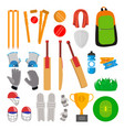 cricket icons set cricketer accessories vector image vector image