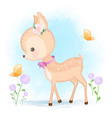 cute baby deer and butterfly hand drawn animal