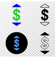dollar up down eps icon with contour vector image vector image