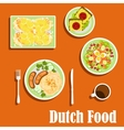Dutch cuisine traditional dishes and snacks vector image vector image