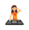 female dj in headphones playing music on mixer vector image vector image