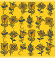flower portraits pattern in mustard and navy vector image vector image
