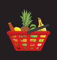 fuul shopping basket with foods healthy organic vector image