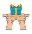 hands holding giftbox pop art vector image vector image