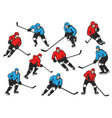 ice hockey sport players with sticks and pucks vector image vector image