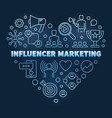 influencer marketing blue linear heart vector image
