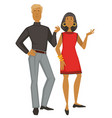 man and woman in vintage 1960s clothes isolated vector image vector image