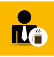 man silhouette business and mug coffee hot design vector image
