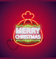 merry christmas neon sign in gift bag vector image vector image