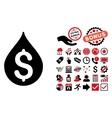 Money Drop Flat Icon with Bonus vector image