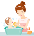 Mother Washing Baby vector image