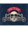 Motorcycle side view and skull with glasses vector image vector image