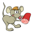 mouse with ham vector image vector image