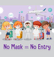 no mask entry sign vector image vector image