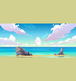 ocean or sea beach nature tranquil landscape vector image vector image