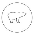 polar bear icon black color in round circle vector image
