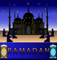ramadan mosque on the night sky background vector image