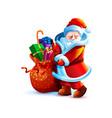 santa claus shy flirtatious and bag gift vector image vector image