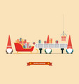 santa sleigh with piles presents waiting a vector image
