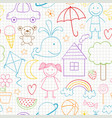 seamless pattern with kids drawings vector image vector image