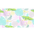 seamless pattern with tropical leaves and scrawl vector image vector image