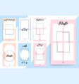 set 7 bright editable template for stories and vector image vector image