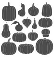 set black and white silhouettes with pumpkins vector image vector image
