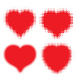 Set of Red Hearts Halftone logo vector image vector image