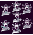set of skull bandit sports labels vector image vector image