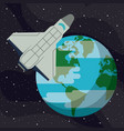 spaceship flying around earth vector image vector image
