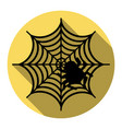 spider on web flat black icon vector image