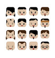 square shape funny expression cartoon head vector image vector image