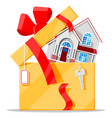 suburban family house in gift box with key vector image