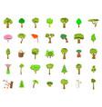 tree icon set cartoon style vector image vector image