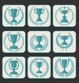 trophy and awards retro vintage collection 8 vector image vector image