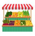 vegetables supermarket stall fruits vector image