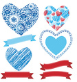 Wedding romantic collection ribbons hearts flowers vector image vector image