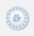 White plate with russian ornament in gzhel style vector image vector image