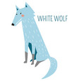 white wolf rare species childish cartoon character vector image